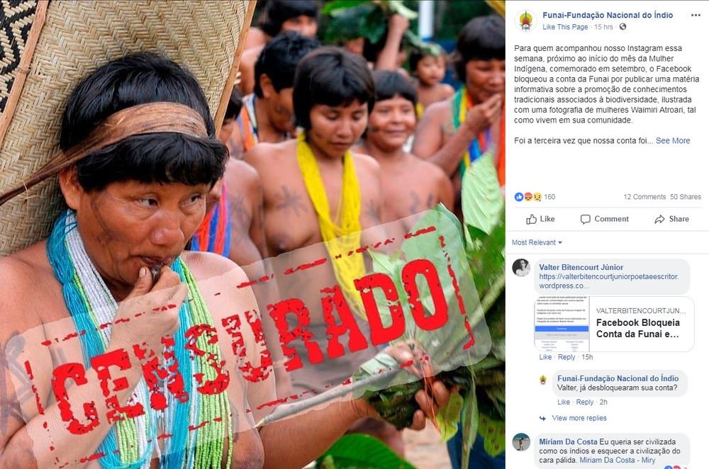 Funai denunciou bloqueio no Facebook após postagem de imagem de índias (Foto: Reprodução)