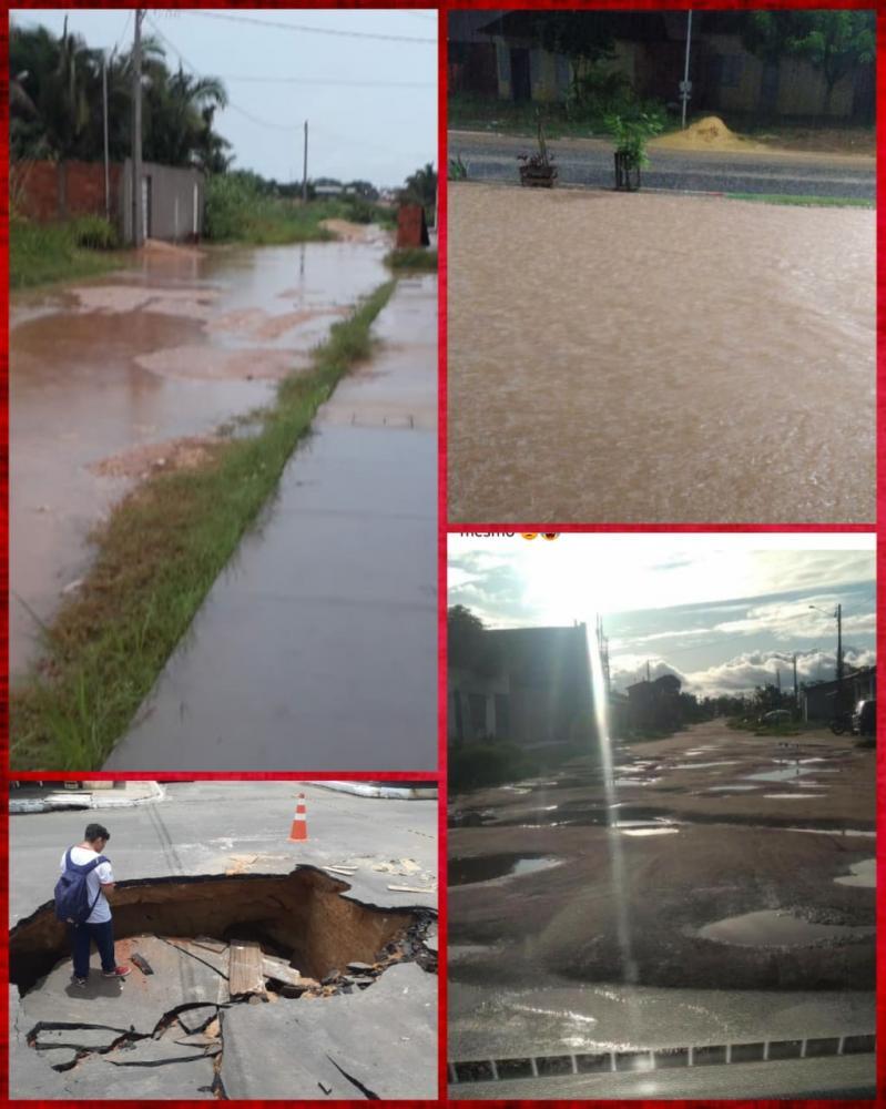 Imagens de uma cidade arrasada pela chuva.
