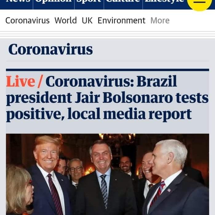 Primeiro teste de Bolsonaro deu positivo para o Covid- 19